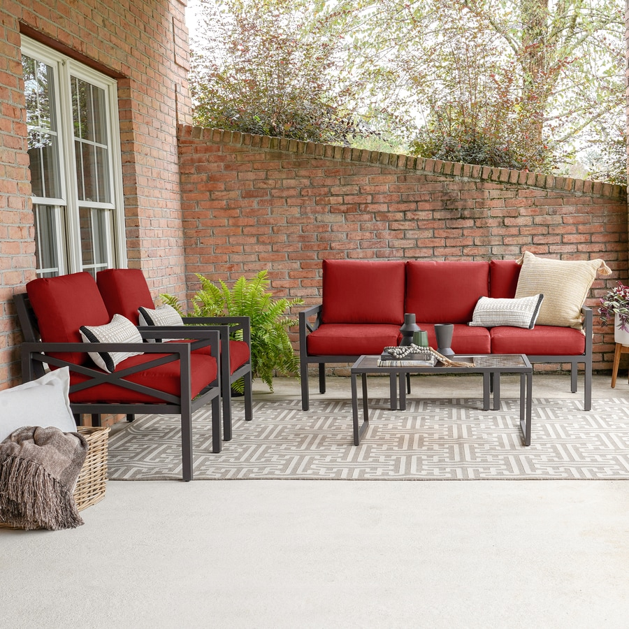 Leisure Made Blakely 5 Piece Aluminum Frame Patio Conversation Set With Red Cushions