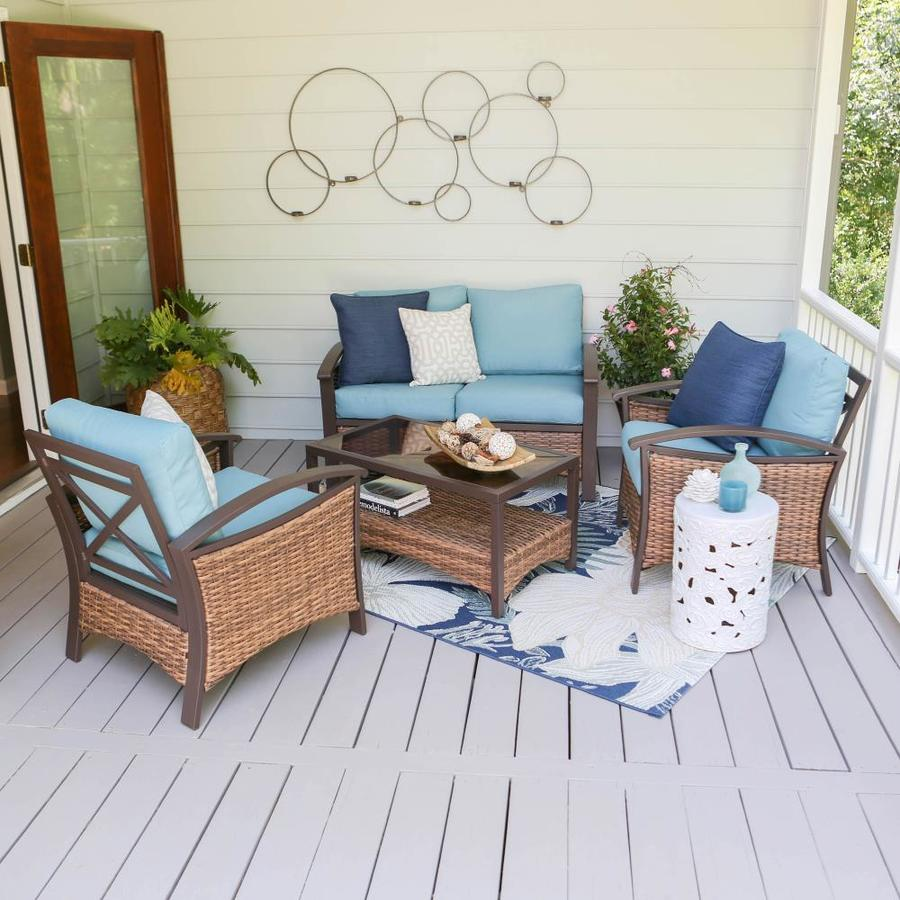 Leisure Made Thompson 4-Piece Wicker Patio Conversation Set