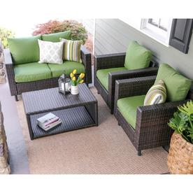 Leisure Made Draper 4 Piece Wicker Frame Patio Conversation Set With  Cushions