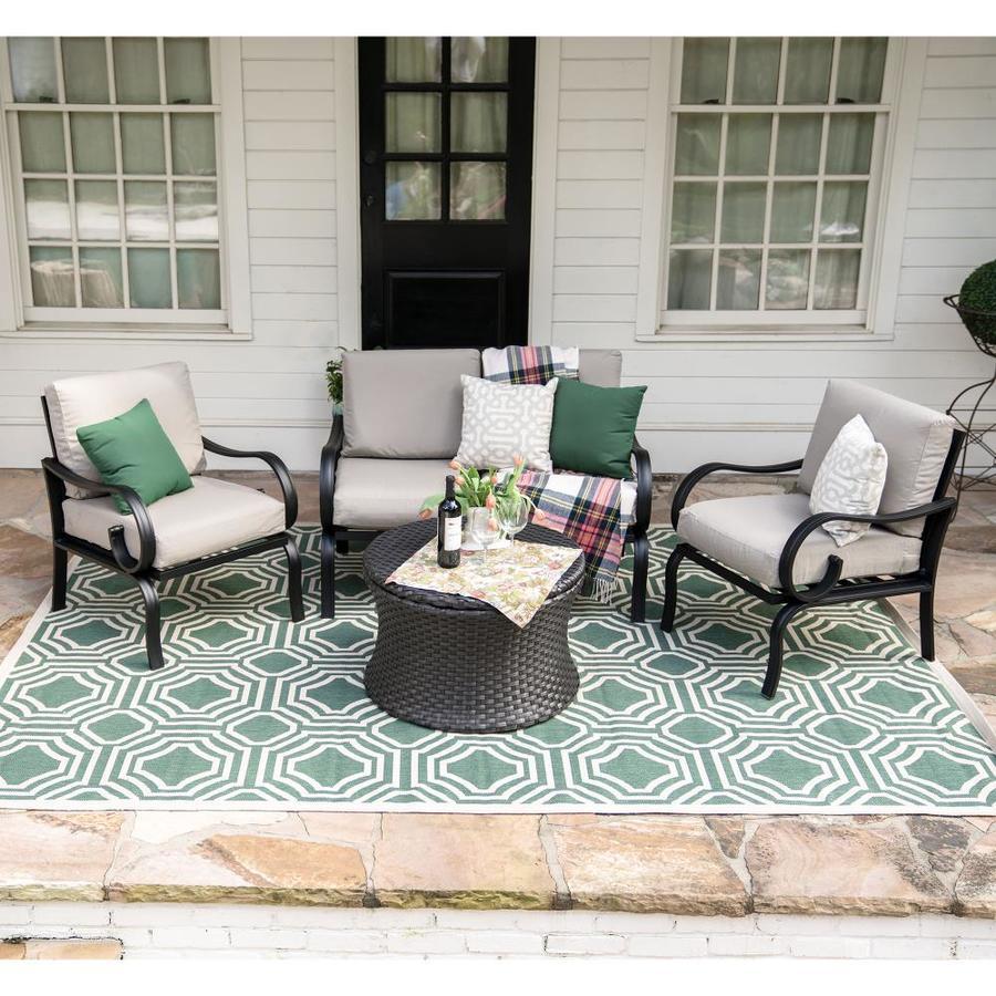 Leisure Made Savannah 4 Piece Aluminum Frame Patio Conversation Set With  Tan Cushions