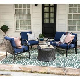 Leisure Made Savannah 4 Piece Aluminum Frame Patio Conversation Set With  Navy Cushions