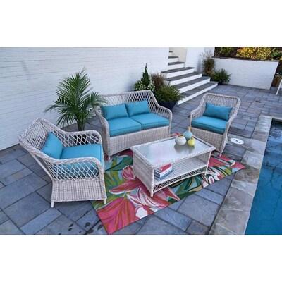 Awe Inspiring Leisure Made Lakeland 4 Piece Wicker Frame Patio Alphanode Cool Chair Designs And Ideas Alphanodeonline