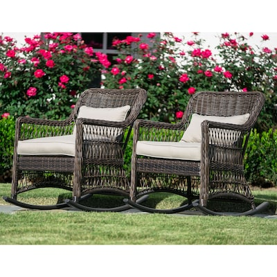 Incredible Leisure Made Pearson Set Of 2 Wicker Metal Rocking Chair S Camellatalisay Diy Chair Ideas Camellatalisaycom