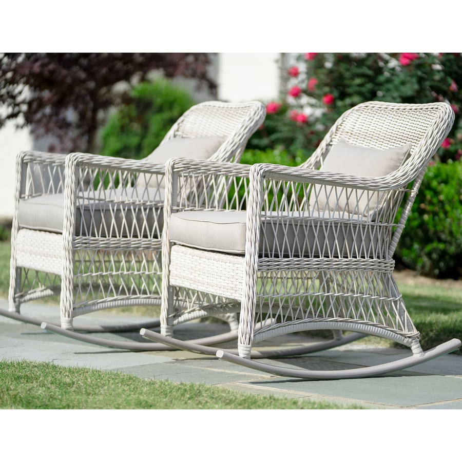 Leisure Made Pearson Set of 2 Wicker Rocking Chairs with Solartex Cushions  sc 1 st  Loweu0027s & Shop Leisure Made Pearson Set of 2 Wicker Rocking Chairs with ...