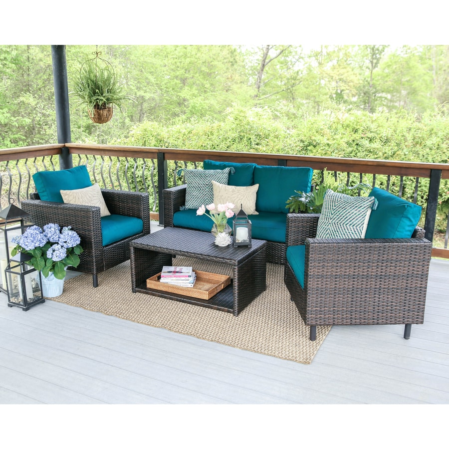 leisure made draper 4 piece wicker frame patio conversation set with peacock cushions at. Black Bedroom Furniture Sets. Home Design Ideas