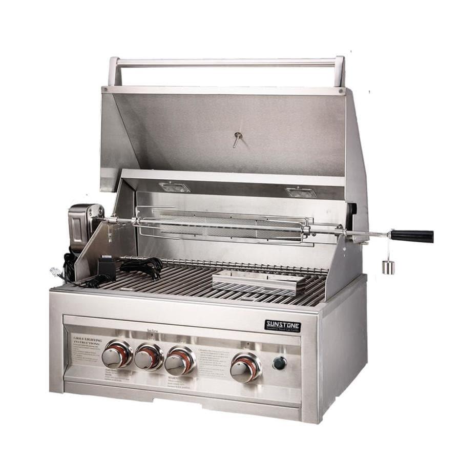 sunstone stainless steel 3 natural gas infrared gas grill rotisserie burner integrated smoker. Black Bedroom Furniture Sets. Home Design Ideas