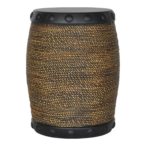 Allen Roth 18 5 In H Black Rim Faux Rope Stool At Lowes Com