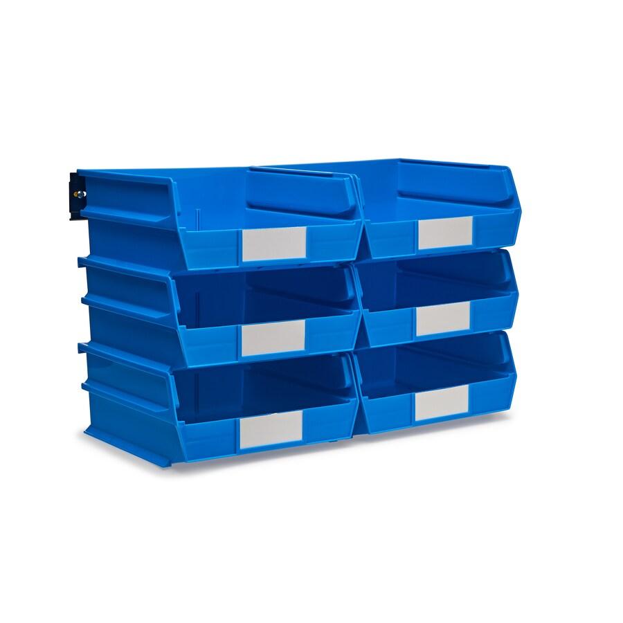 LocBin 11-in W x 5-in H x 10.875-in D Blue Plastic Bin