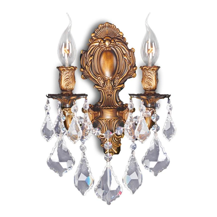 Worldwide Lighting 12-in W 2-Light French Gold Crystal Candle Wall Sconce