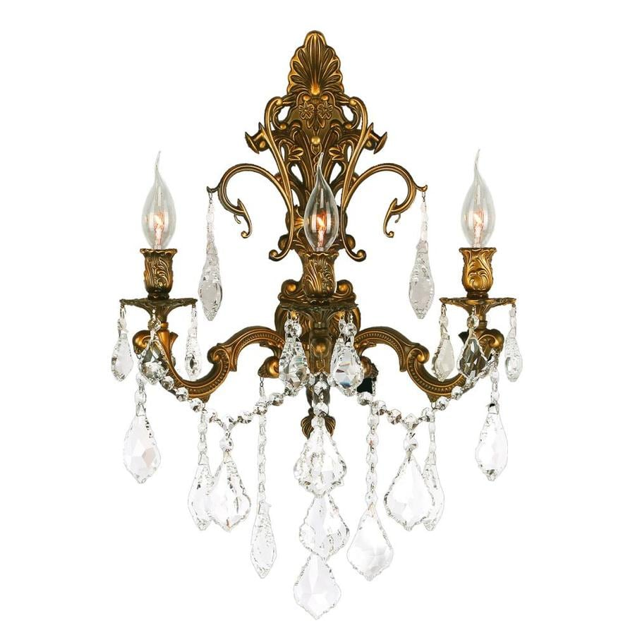 Worldwide Lighting Empire 17 In W 3 Light French Gold Crystal Candle Wall Sconce