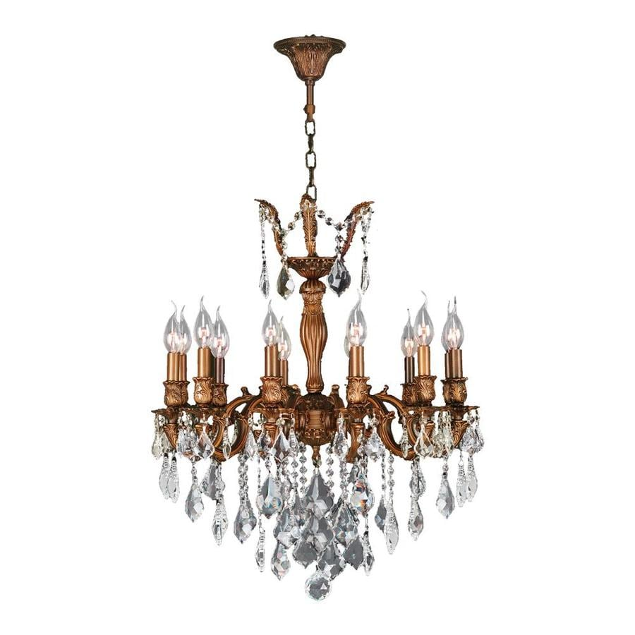Worldwide Lighting Versailles 24-in 12-Light French Gold Crystal Candle Chandelier
