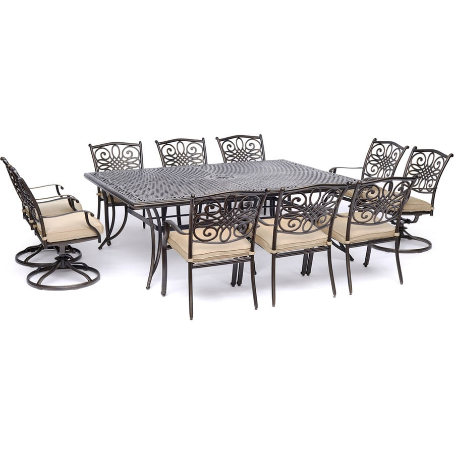 Hanover Traditions 11 Piece Bronze Metal Frame Patio Set With Tan Cushions