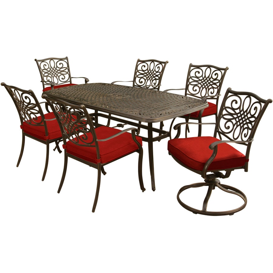 Hanover Traditions 7 Piece Dining Set In Red With Two Swivel Rockers