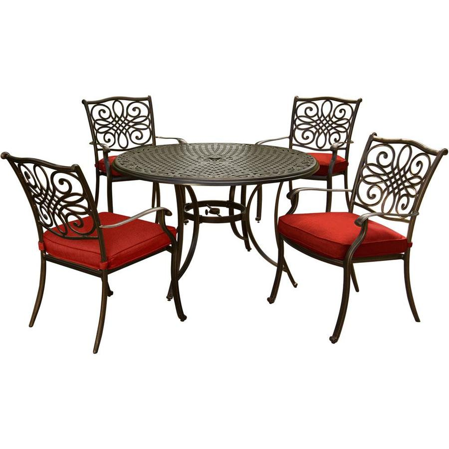 Beau Hanover Traditions 5 Piece Dining Set In Red With 48 In. Cast Top Table And  Four Dining Chairs