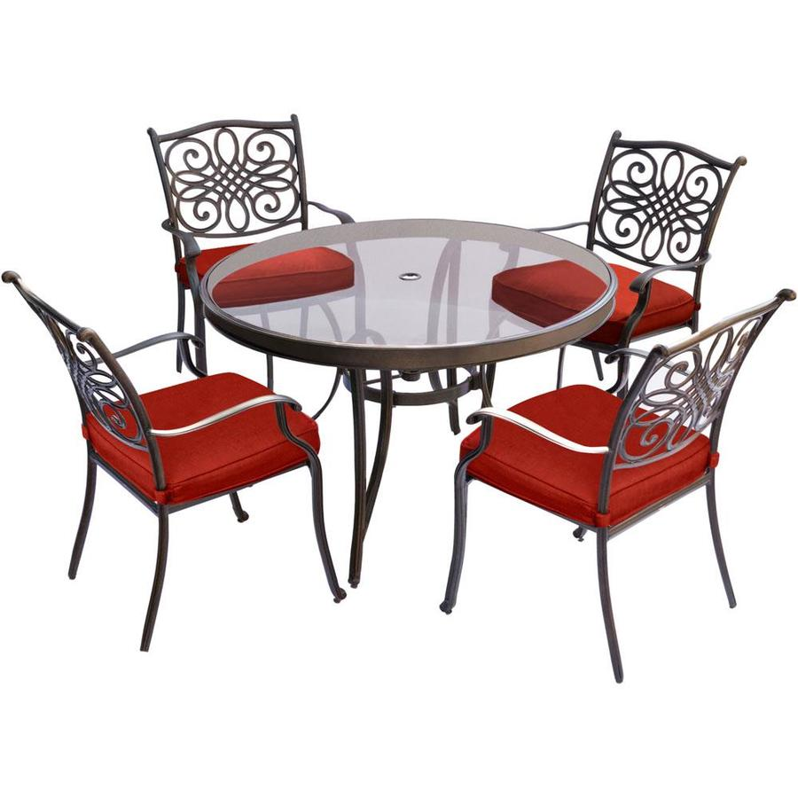 Red Dining Table Set: Hanover Traditions 5-Piece Dining Set In Red With 48 In
