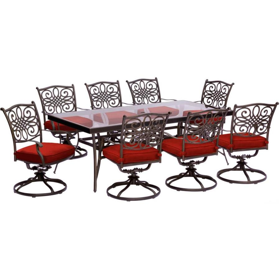 Hanover Traditions 9 Piece Dining Set In Red With Extra Large Glass