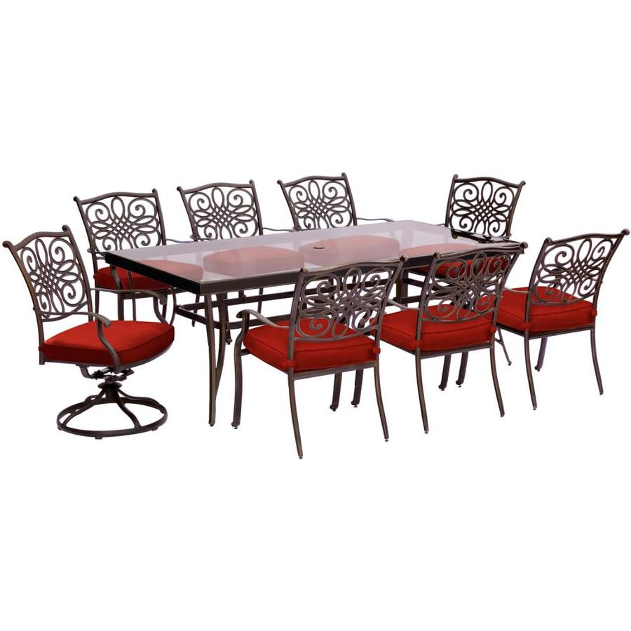 Hanover Outdoor Furniture Tradtions 9 Piece Red Aluminum Frame Patio Set With Cushions