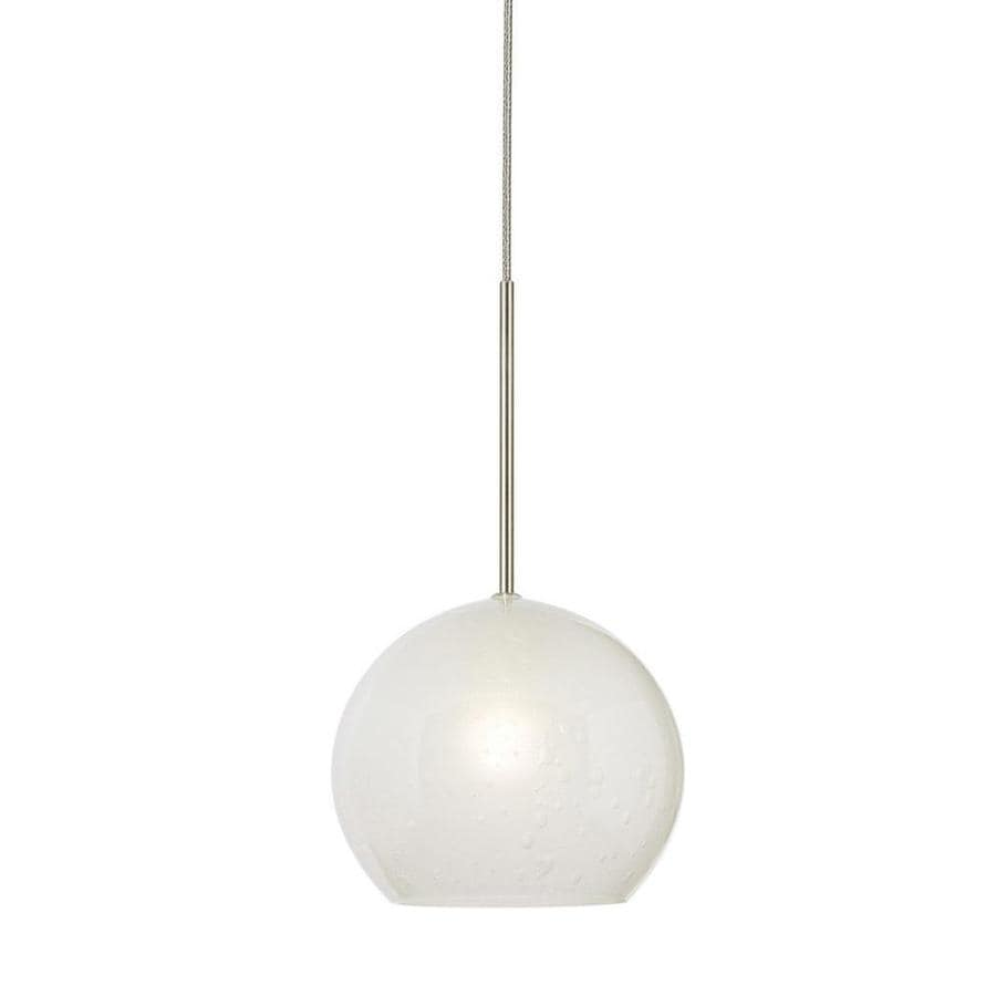 Stone 3.5-in Satin Nickel Mini Textured Glass Pendant