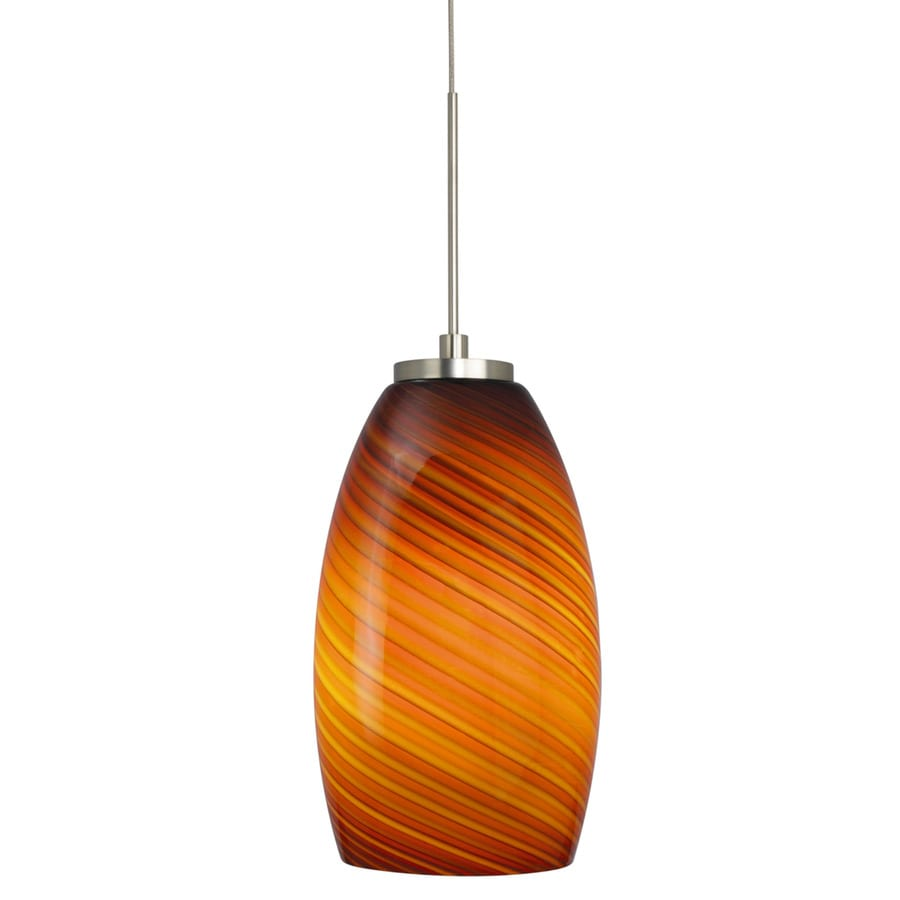 Stone 7.75-in Polished Nickel Mini Tinted Glass Pendant