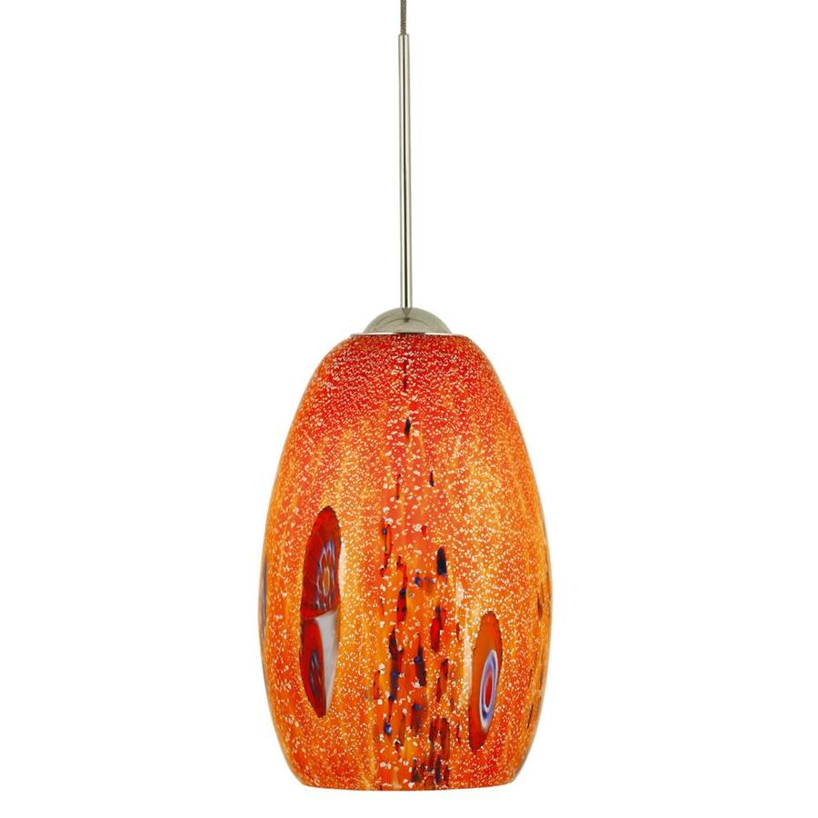 Stone 6.25-in Polished Nickel Mini Textured Glass Pendant