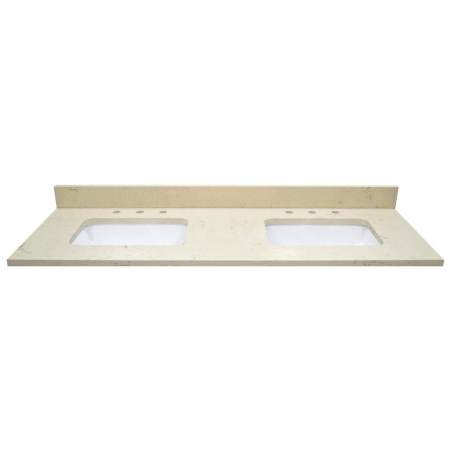 Shop us marble giallo beige quartz undermount double sink for Bathroom quartz vanity tops