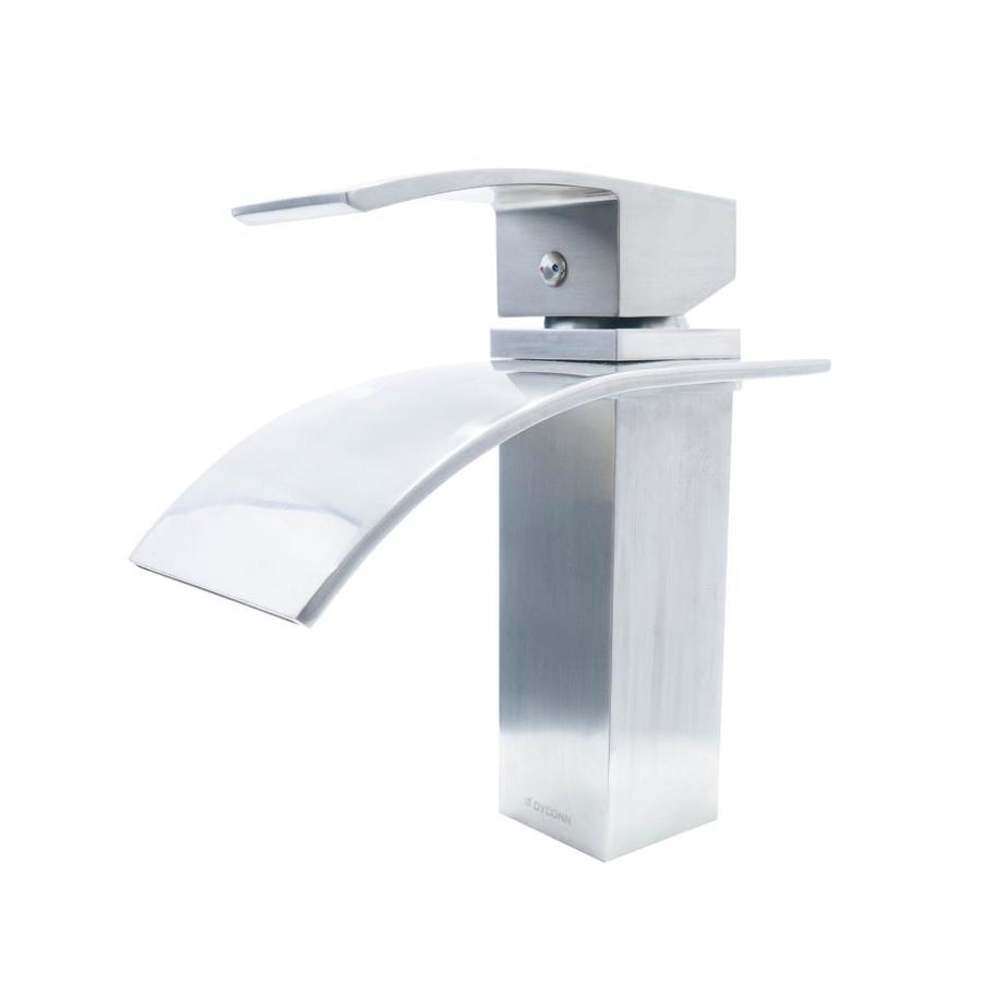Brushed Nickel Bathroom Vessel Faucet Glass  Waterfall One Hole//Handle Cheap Tap