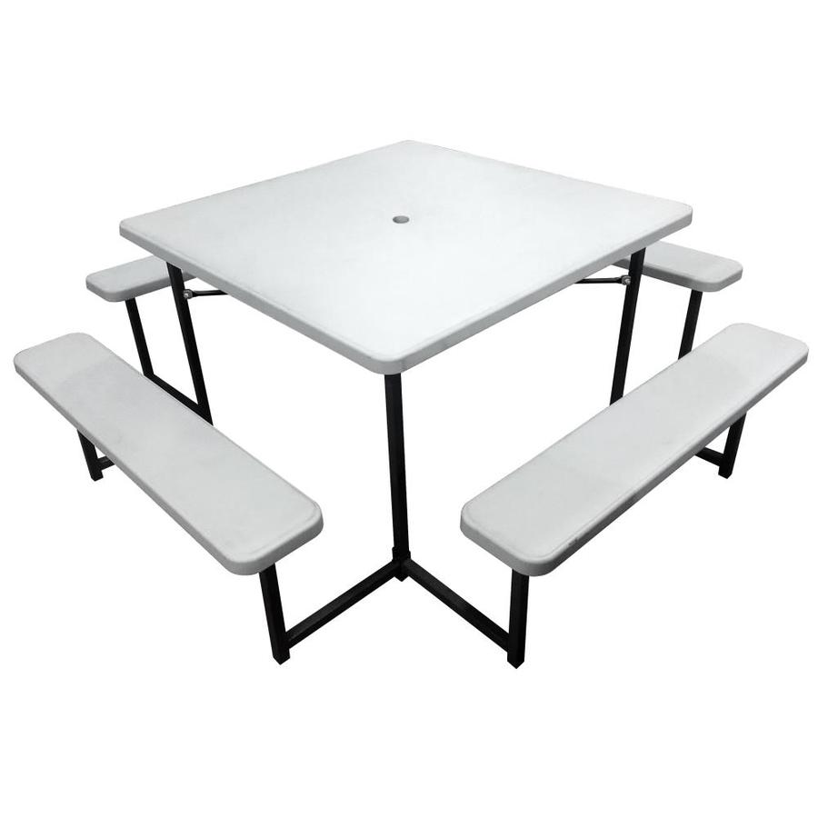 Pdg Plastic Development Group Square Picnic Table With 4 Benches In The Picnic Tables Department At Lowes Com