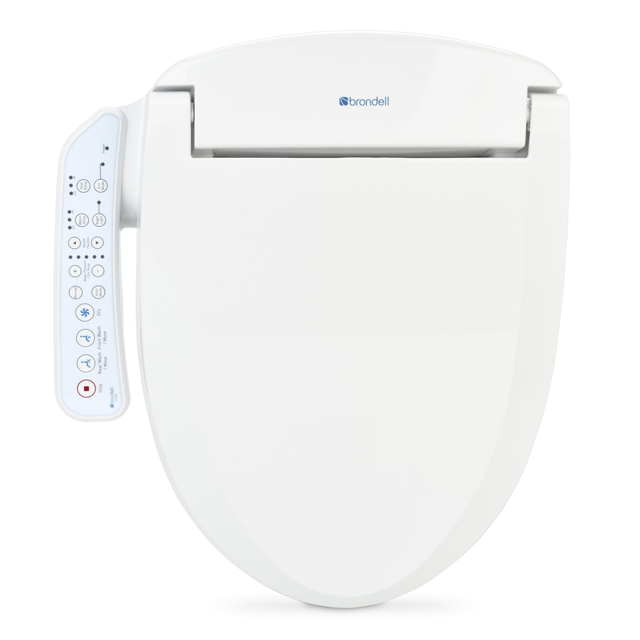 shop brondell white plastic elongated heated bidet toilet seat at lowes