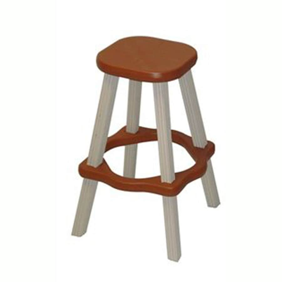 QCA Spas Red Resin Patio Bar Stool Chair with
