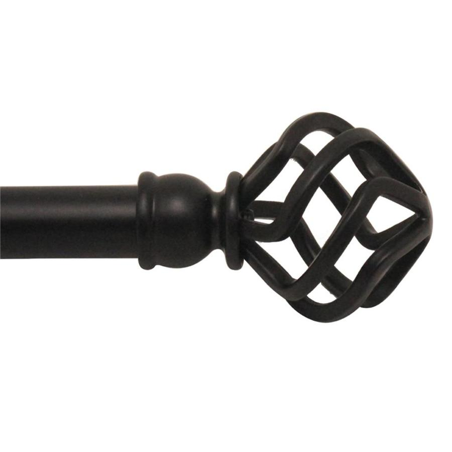 Style Selections 48-in to 84-in Matte Black Steel Single Curtain Rod