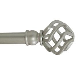 Style Selections 28-in to 48-in Satin Nickel Steel Single Curtain Rod