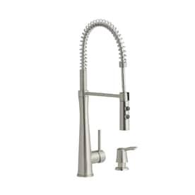 allen + roth Tilton Stainless Steel 1-Handle Deck-Mount Pull-Down Handle Kitchen Faucet
