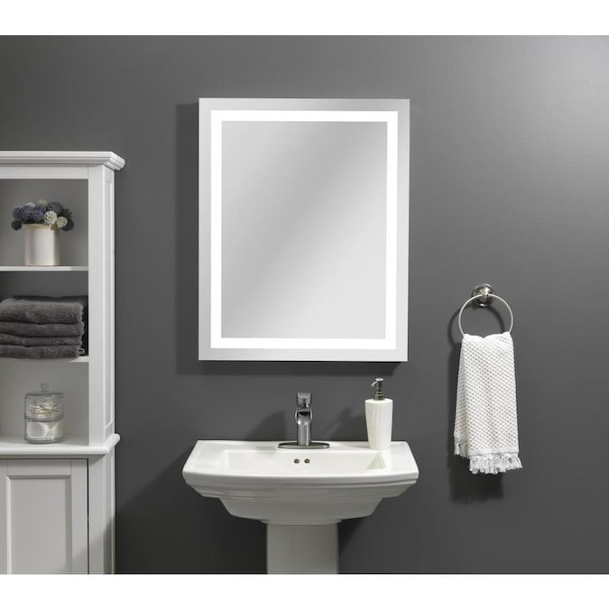 Style Selections 24 In Led Lit Mirror Rectangular Frameless Lighted Led Bathroom Mirror In The Bathroom Mirrors Department At Lowes Com
