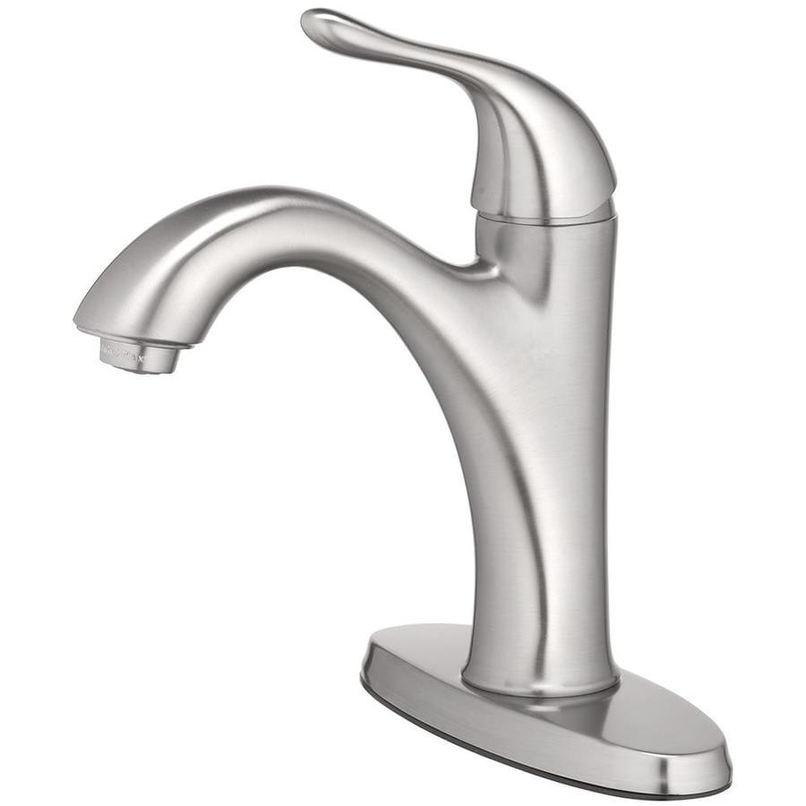 Home2O Elda Brushed Nickel 1-Handle Single Hole/4-in Centerset WaterSense Bathroom Sink Faucet