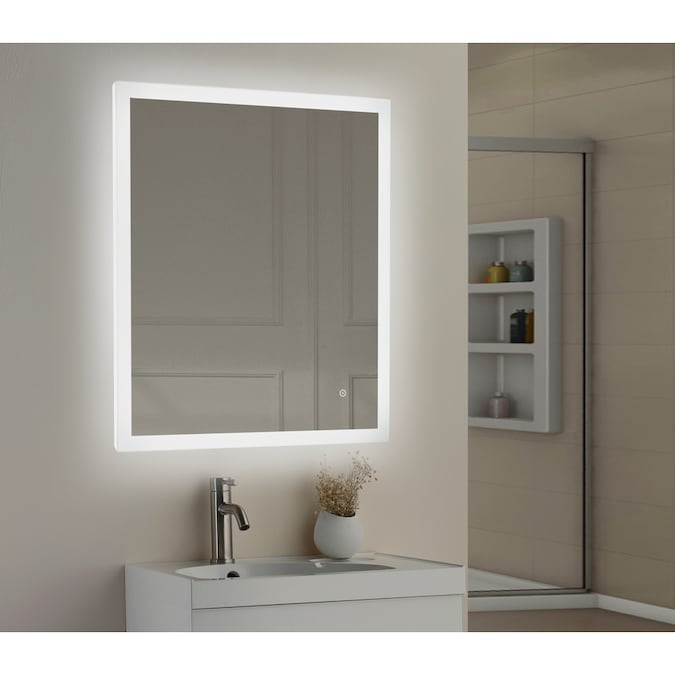 Style Selections 30 In Led Lit Mirror Rectangular Frameless Lighted Led Bathroom Mirror In The Bathroom Mirrors Department At Lowes Com