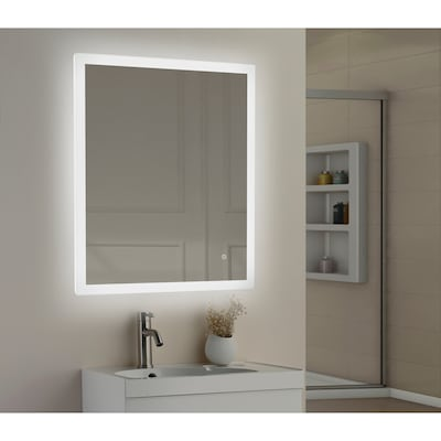 30 In Led Lit Mirror Rectangular Frameless Lighted Bathroom