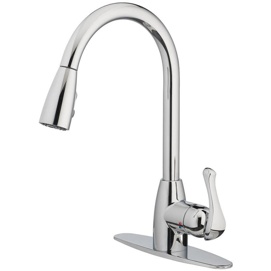 Shop Project Source Chrome 1-Handle Pull-down Kitchen Faucet at ...