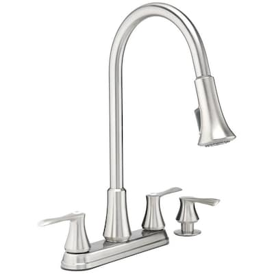 Stainless Steel 2-handle Deck Mount Pull-down Commercial/Residential  Kitchen Faucet