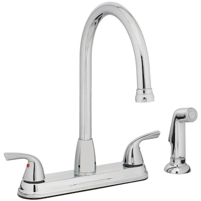 Chrome 2-Handle Deck Mount High-Arc Commercial/Residential Kitchen Faucet