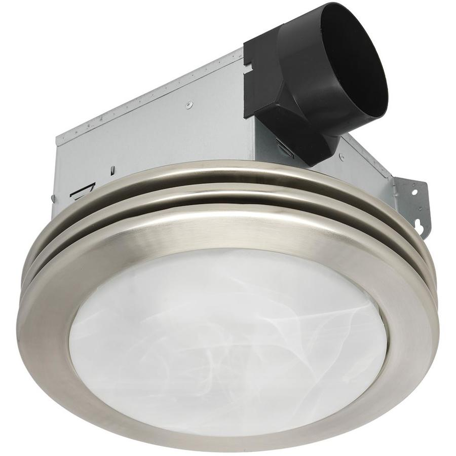 bathroom ceiling light with exhaust fan shop utilitech 2 sone 80 cfm brushed nickel bathroom fan 24851
