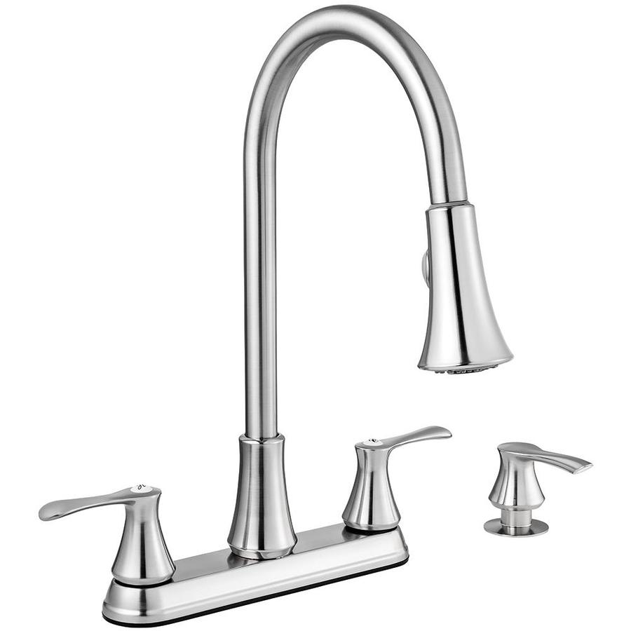 2 handle pull down kitchen faucet shop project source stainless steel 2 handle deck mount 26286