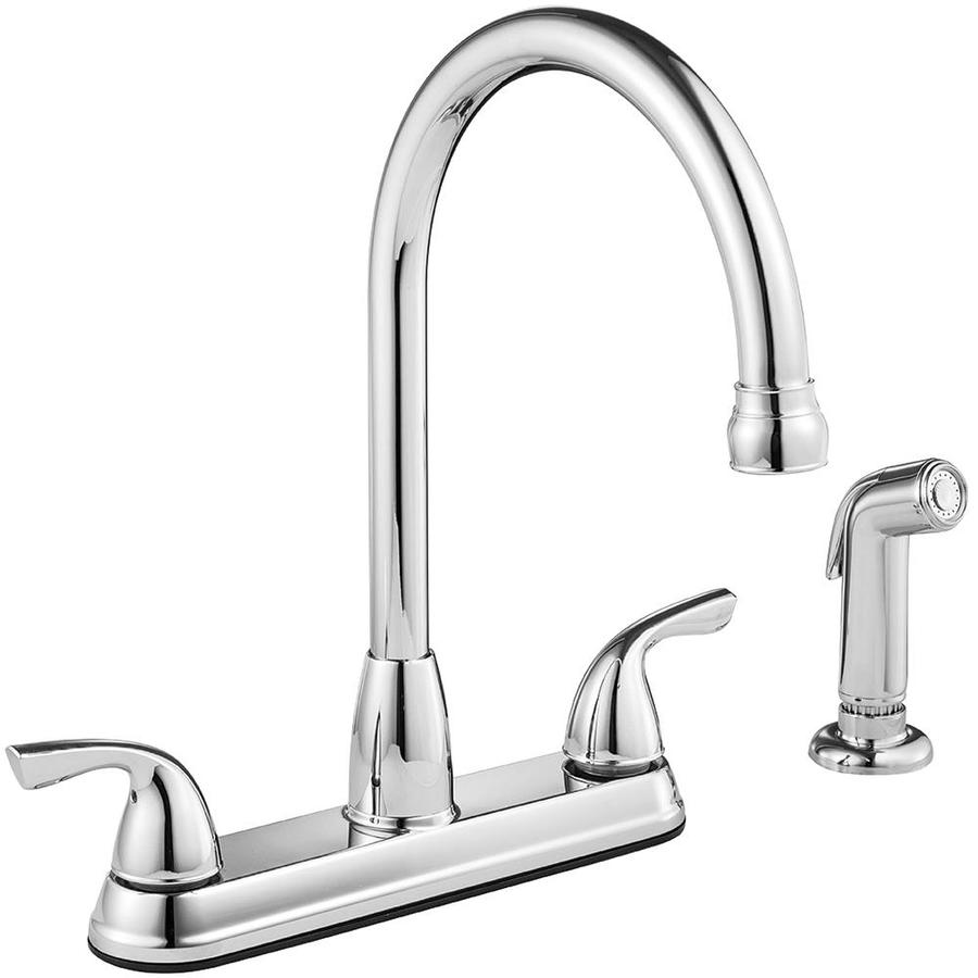 Project Source Chrome 2 Handle Deck Mount High Arc Kitchen Faucet At