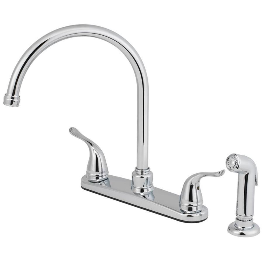 AquaSource Chrome 2 Handle High Arc Deck Mount Kitchen Faucet