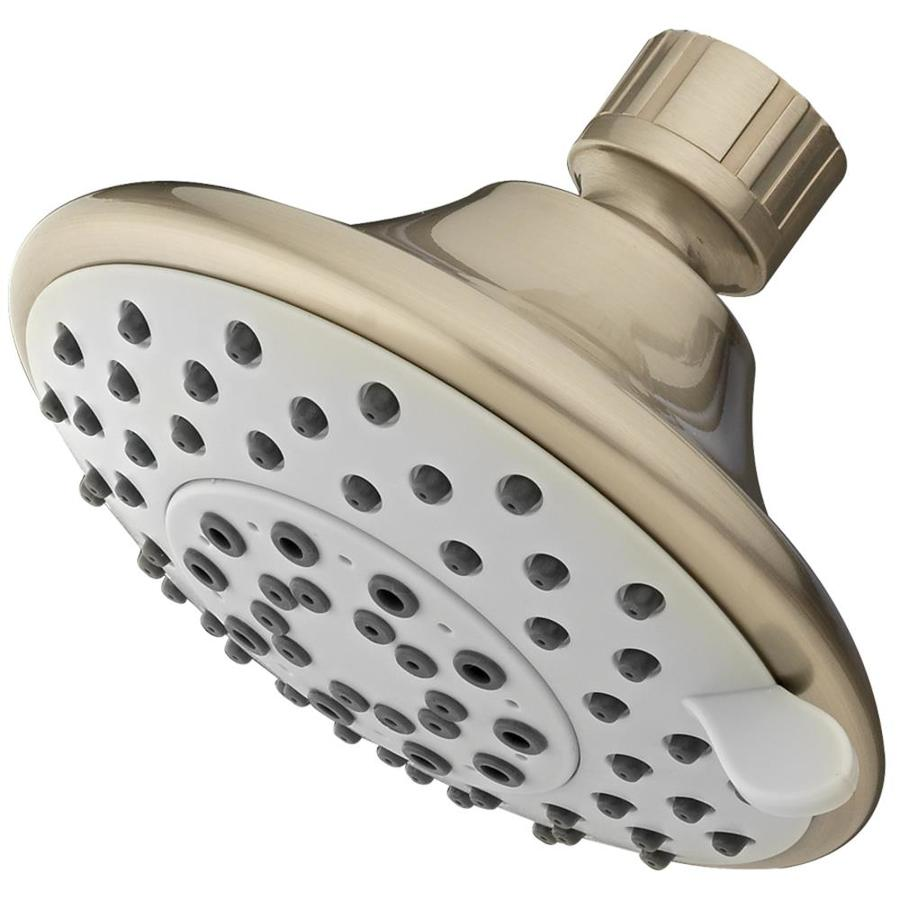 AquaSource 4.5-in 2.5-GPM (9.5 Lpm) Brushed Nickel 5-Spray Showerhead