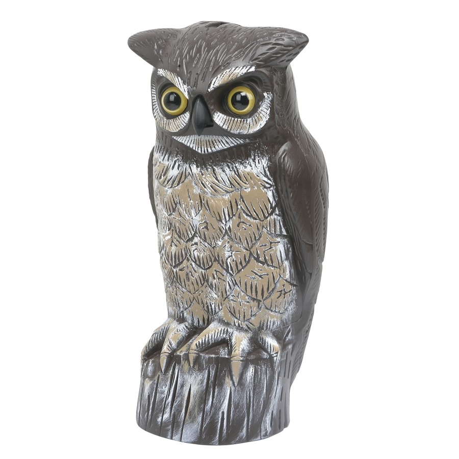 Garden Plus Great Horned Owl Scarecrow Bird Repellent Decoy