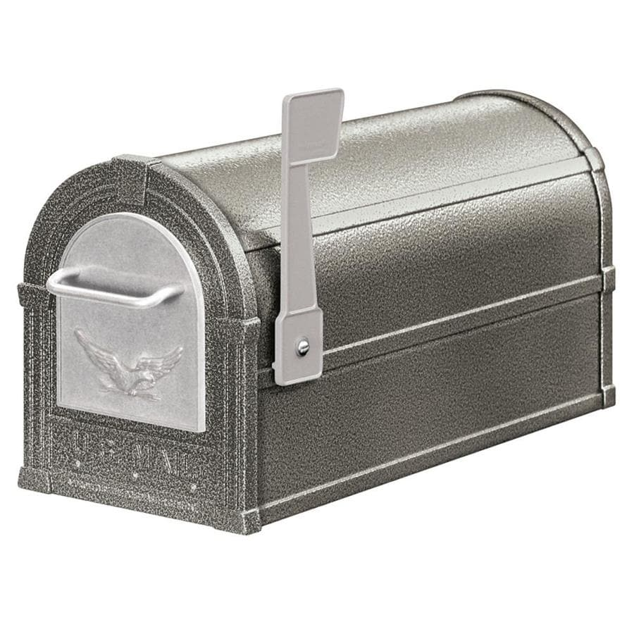 SALSBURY INDUSTRIES 4800 Series 7.5-in x 9.5-in Metal Pewter Post Mount Mailbox