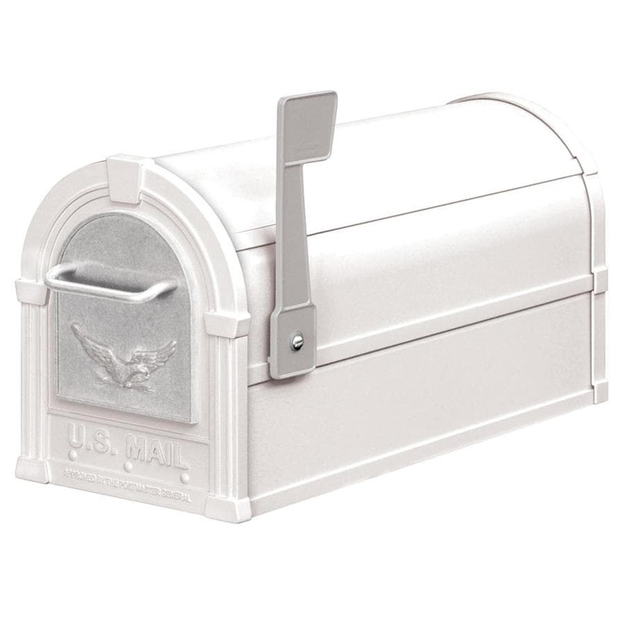 SALSBURY INDUSTRIES 4800 Series 7.5-in x 9.5-in Metal White Post Mount Mailbox