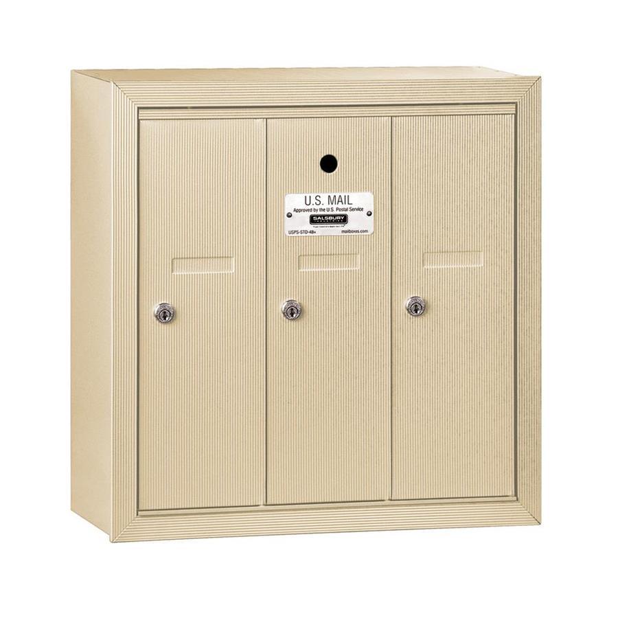 SALSBURY INDUSTRIES 3500 Series 18.75-in x 19-in Metal Sandstone Lockable Wall Mount Cluster Mailbox
