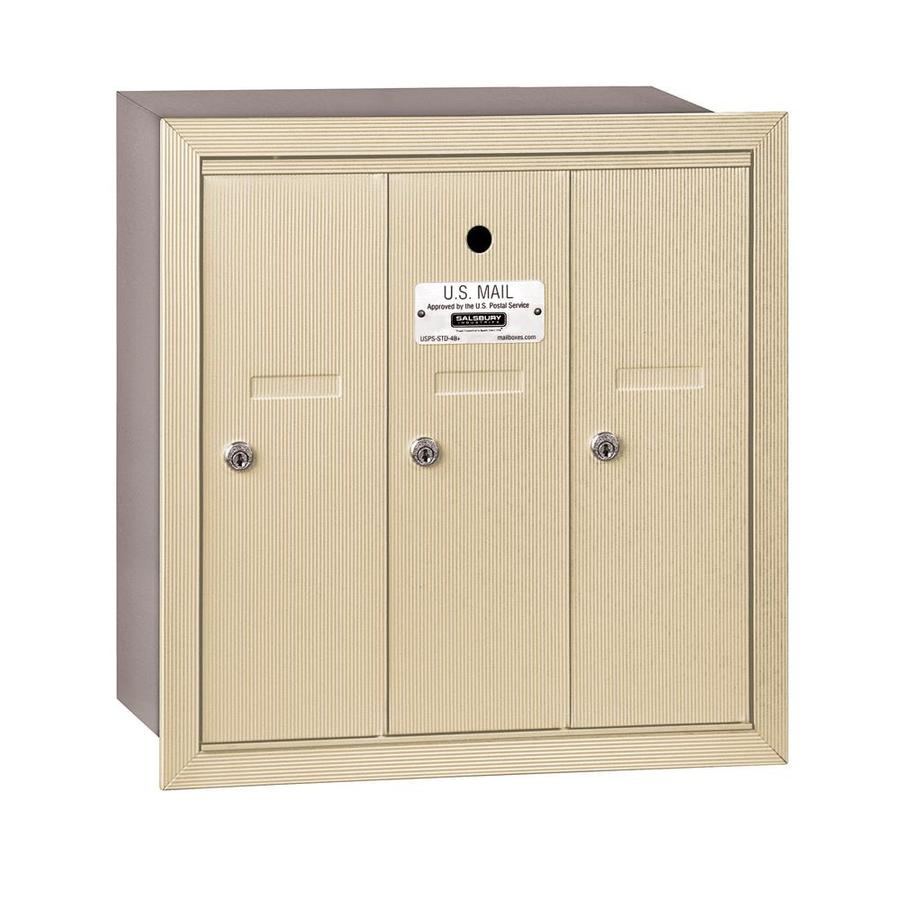 SALSBURY INDUSTRIES 3500 Series 18.75-in x 19-in Metal Sandstone Lockable Recessed Mount Cluster Mailbox