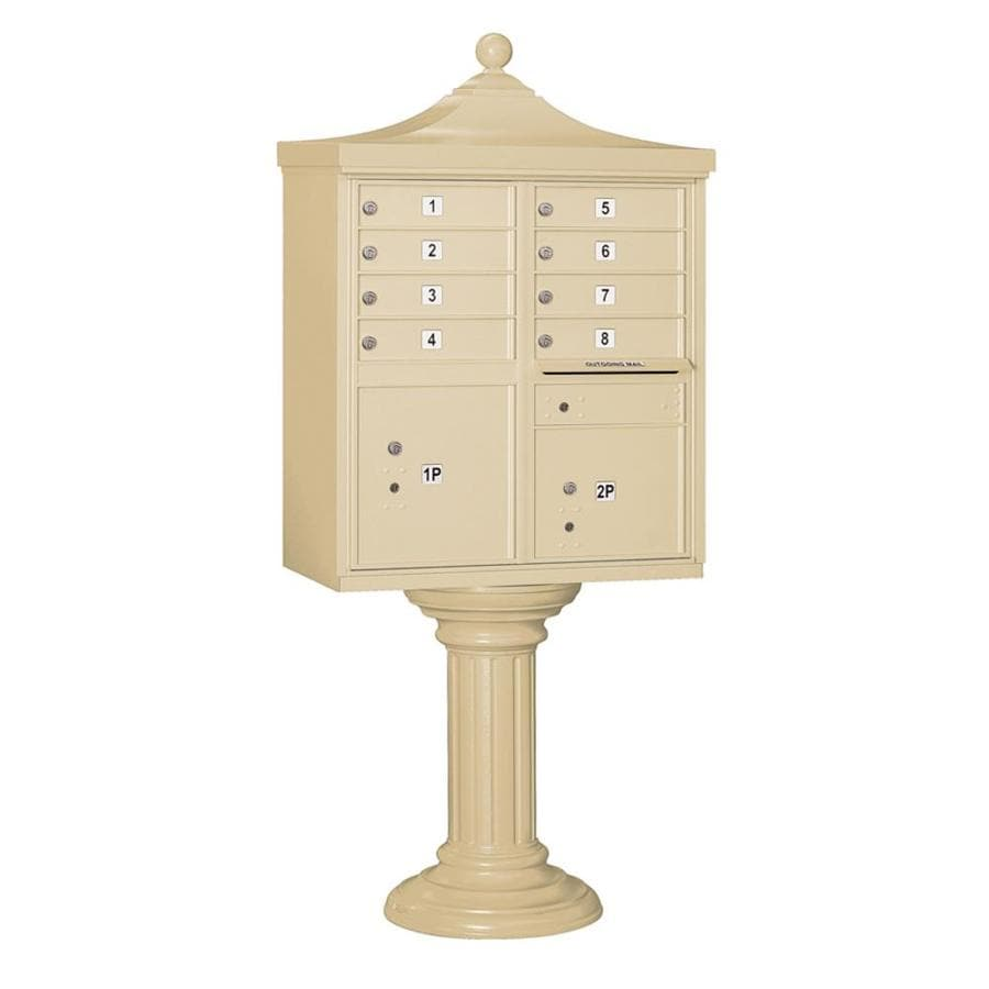 SALSBURY INDUSTRIES 3300 Series 31-in x 71.75-in Metal Sandstone Lockable Post Mount Cluster Mailbox